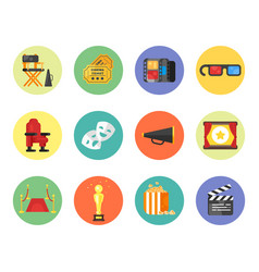 Set of cinema icon for online movies vector