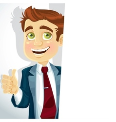 Cute businessman shows ok and hold big banner vector