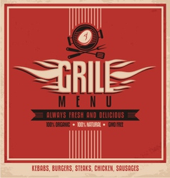 Grill menu retro flyer design template vector image