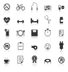 Wellness icons with reflect on white background vector image