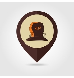 Halloween grave mapping pin icon vector