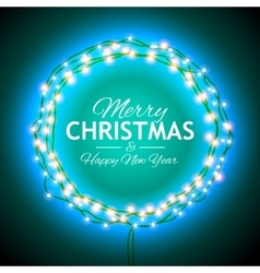 Congratulation to christmas with lights vector