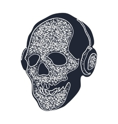Skull in earphones vector