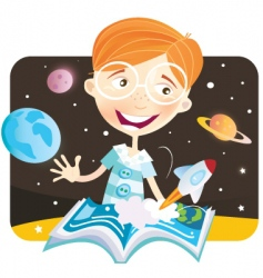 Small boy with story book vector