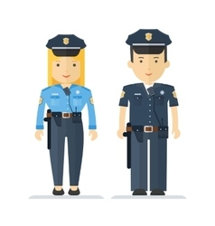 Profession policeman and woman vector