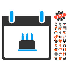Birthday cake calendar day icon with love bonus vector