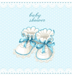 Blue booties baby shower card vector
