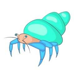 Blue hermit crab icon cartoon style vector