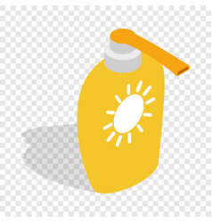Bottle of suntan cream isometric icon vector