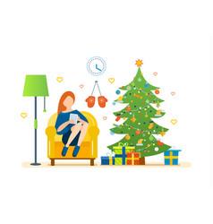 christmas room interior yoga healthy lifestyle vector image