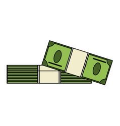 Color image cartoon pack stack bills vector