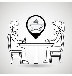 Couple sitting dinner vector
