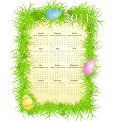 Easter calendar 2011 vector image vector image