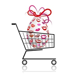 Easter egg in shopping cart for your design vector image vector image