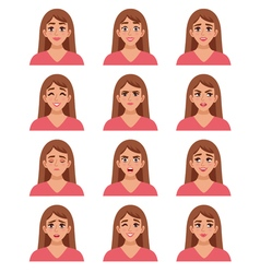 Female go-to faces set vector