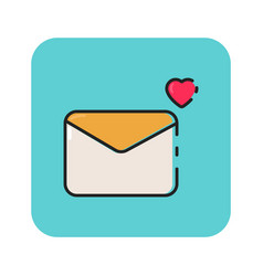 Flat color envelope icon vector