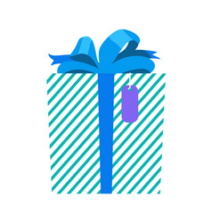 Gift with wrapping and ribbon vector