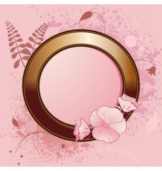 gold border and floral grunge vector image vector image