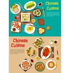 Healthy seafood and meat dishes of chinese cuisine vector image