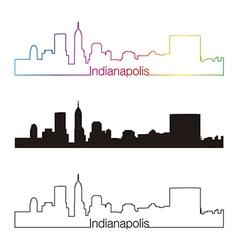 Indianapolis skyline linear style with rainbow vector