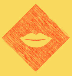 Lips sign red scribble icon vector