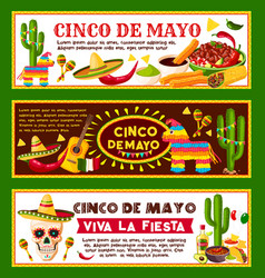 Mexican banners for cinco de mayo holiday vector