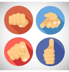 Open palm pleading giving pointing finger tumbs up vector