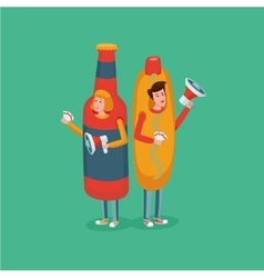 People wearing hot dog and bottle costume fast vector
