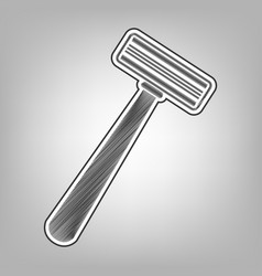 Safety razor sign pencil sketch imitation vector