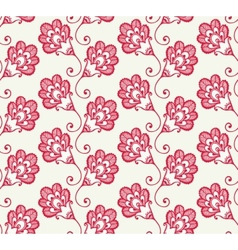 Seamless pattern with red doodle flowers vector image vector image