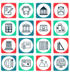 Set of 16 school icons includes certificate home vector