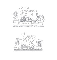 Shelf with flowers welcome home vector