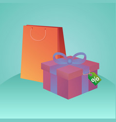 shopping bags gift box and tag with discount fo vector image vector image