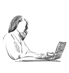 Sketch of woman working on lap top using pen vector