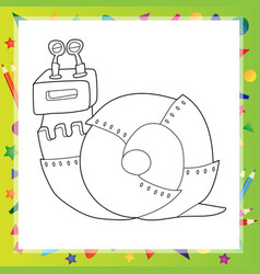 snail robot - coloring book vector image