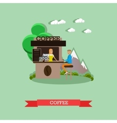 Street coffee concept in flat vector