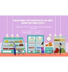 Supermarket interior flat vector image