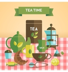 Tea time vintage decorative poster print vector image vector image
