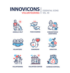 Volunteering - modern line icons set vector