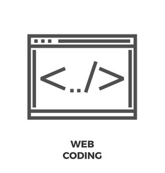 Web coding line icon vector