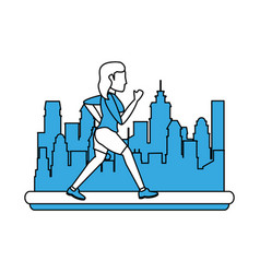 Woman running cartoon in the city vector