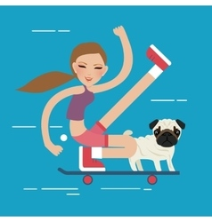 Woman skateboarding with dog pet healthy athletic vector