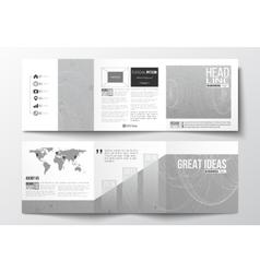 Set of tri-fold brochures square design vector