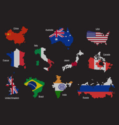 Set of countries map flag vector