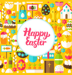 Flat happy easter greeting vector