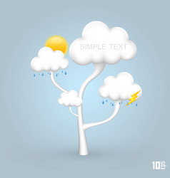 Tree with clouds weather vector