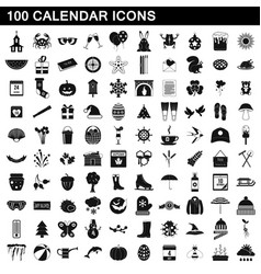 100 calendar icons set simple style vector image