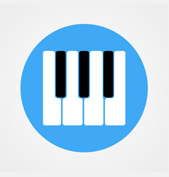 Piano keys icon isolated on blue circle vector