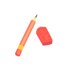 red pencil and eraser artistic or school vector image