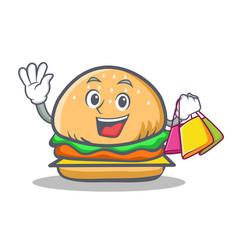 shopping burger character fast food vector image